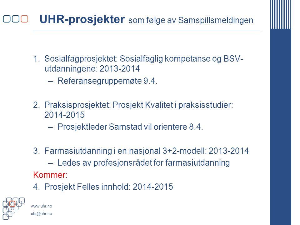 UHR-prosjekter som følge av Samspillsmeldingen