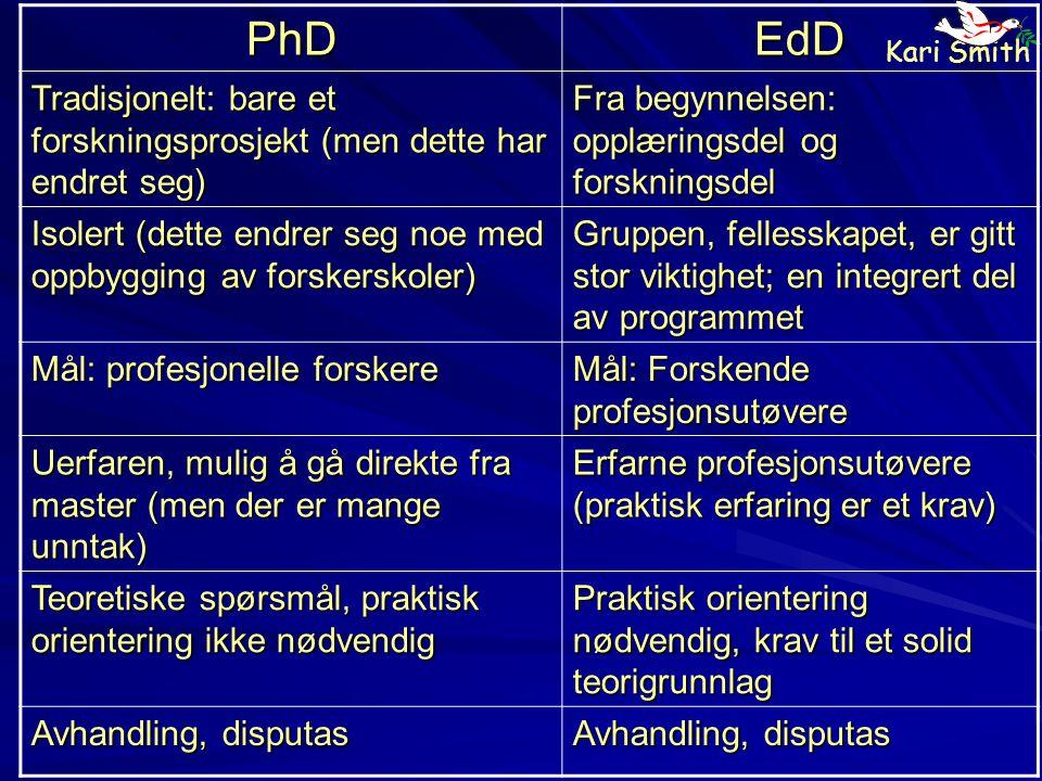 PhD EdD. Tradisjonelt: bare et forskningsprosjekt (men dette har endret seg) Fra begynnelsen: opplæringsdel og forskningsdel.