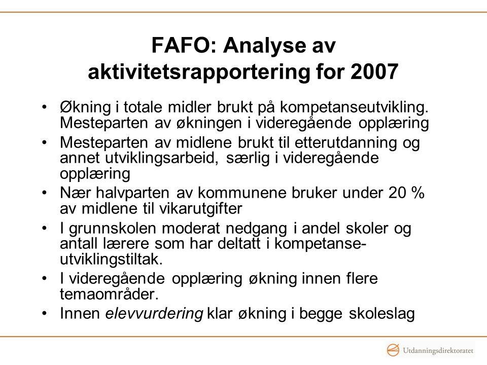 FAFO: Analyse av aktivitetsrapportering for 2007
