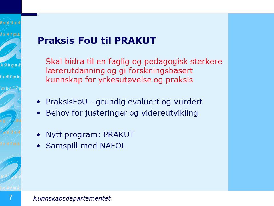 Praksis FoU til PRAKUT Skal bidra til en faglig og pedagogisk sterkere lærerutdanning og gi forskningsbasert kunnskap for yrkesutøvelse og praksis.