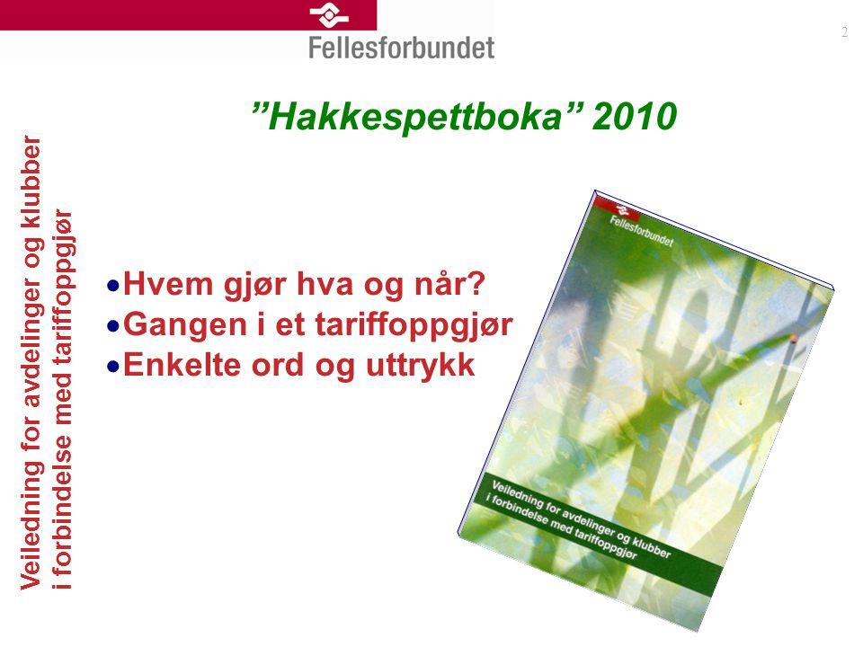 Hakkespettboka 2010 Hvem gjør hva og når Gangen i et tariffoppgjør