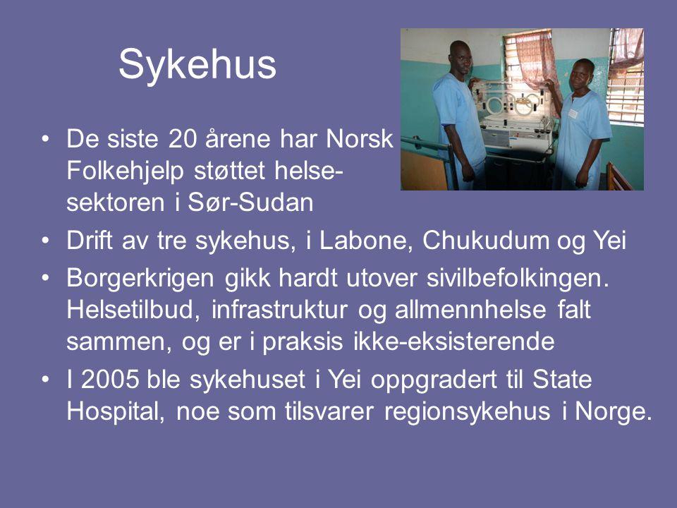 Sykehus De siste 20 årene har Norsk Folkehjelp støttet helse- sektoren i Sør-Sudan. Drift av tre sykehus, i Labone, Chukudum og Yei.