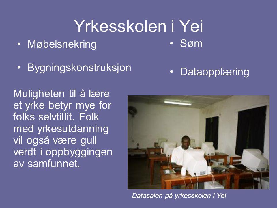 Yrkesskolen i Yei Søm Møbelsnekring Bygningskonstruksjon Dataopplæring
