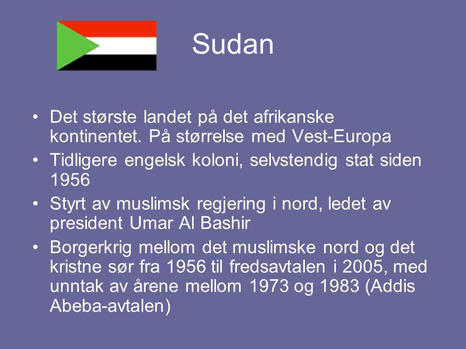 Sudan Det største landet på det afrikanske kontinentet. På størrelse med Vest-Europa. Tidligere engelsk koloni, selvstendig stat siden 1956.
