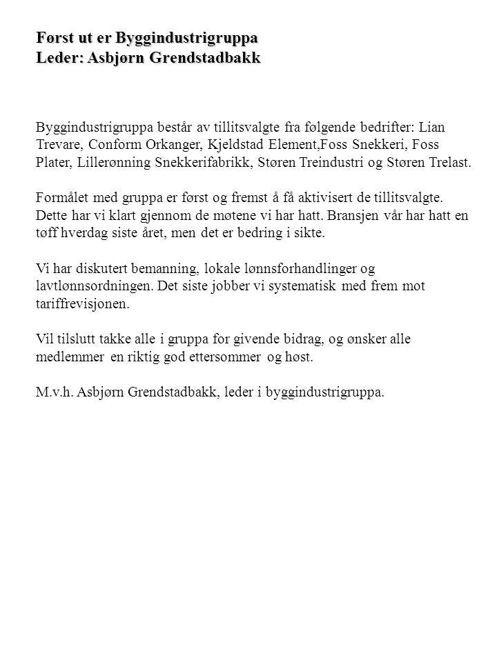 Først ut er Byggindustrigruppa Leder: Asbjørn Grendstadbakk