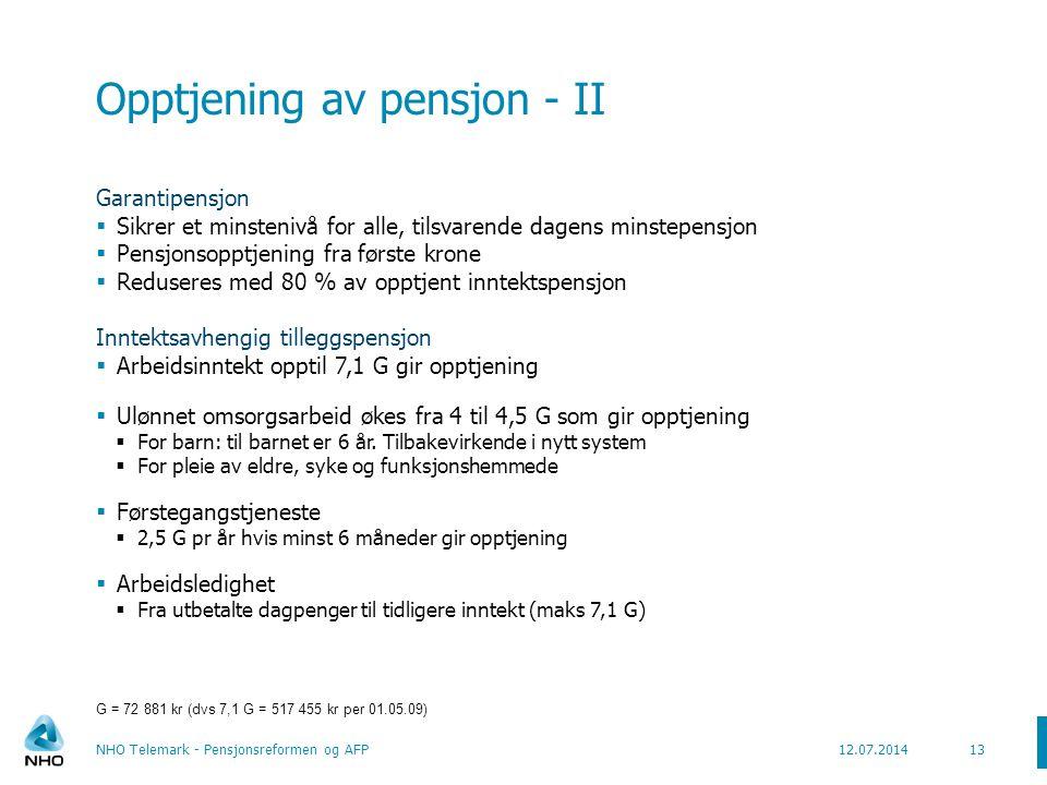 Opptjening av pensjon - II