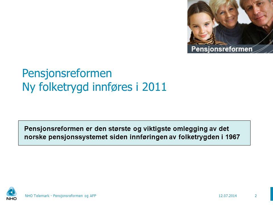 Pensjonsreformen Ny folketrygd innføres i 2011