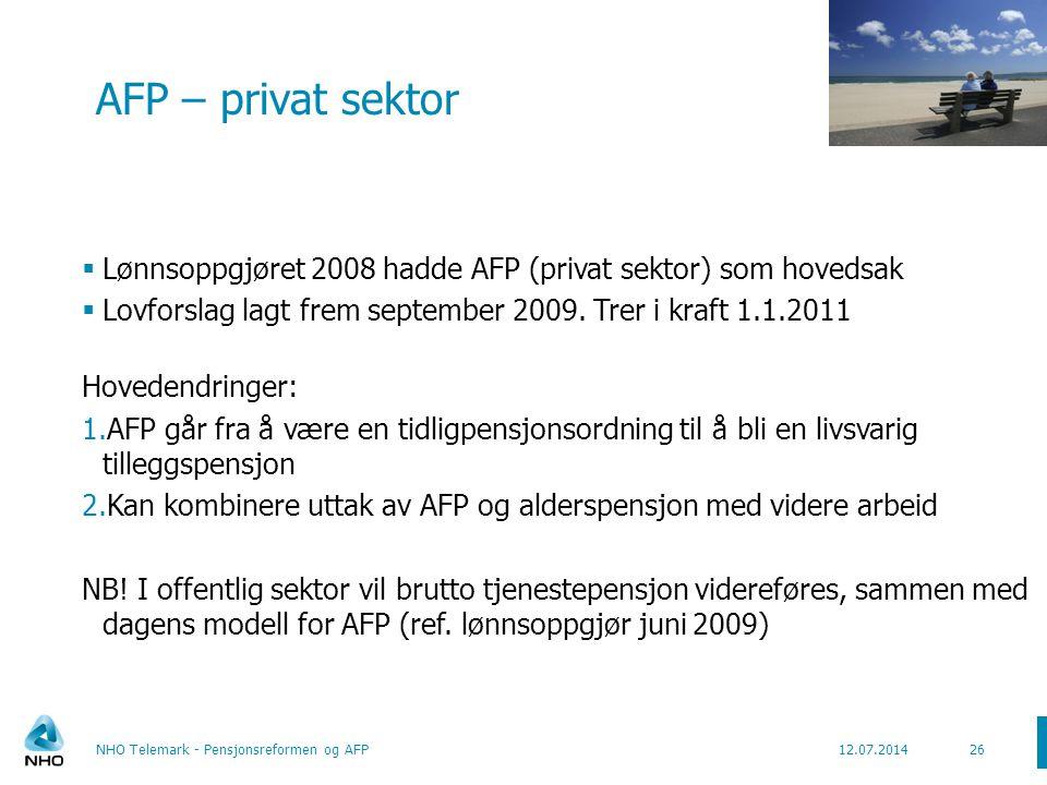 AFP – privat sektor Lønnsoppgjøret 2008 hadde AFP (privat sektor) som hovedsak. Lovforslag lagt frem september 2009. Trer i kraft 1.1.2011.