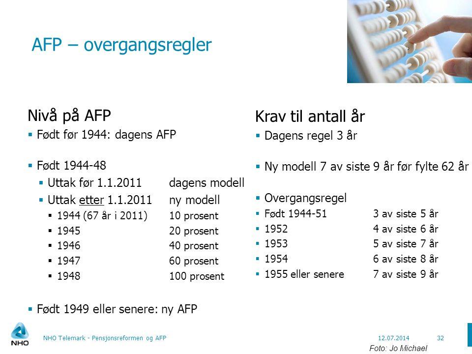 AFP – overgangsregler Nivå på AFP Krav til antall år