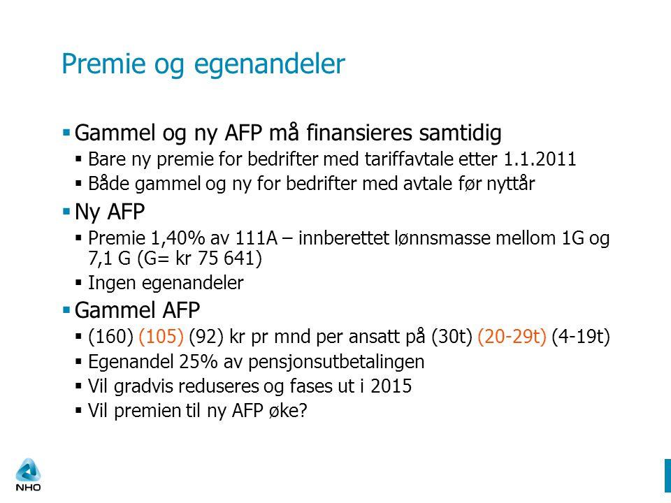 Premie og egenandeler Gammel og ny AFP må finansieres samtidig Ny AFP