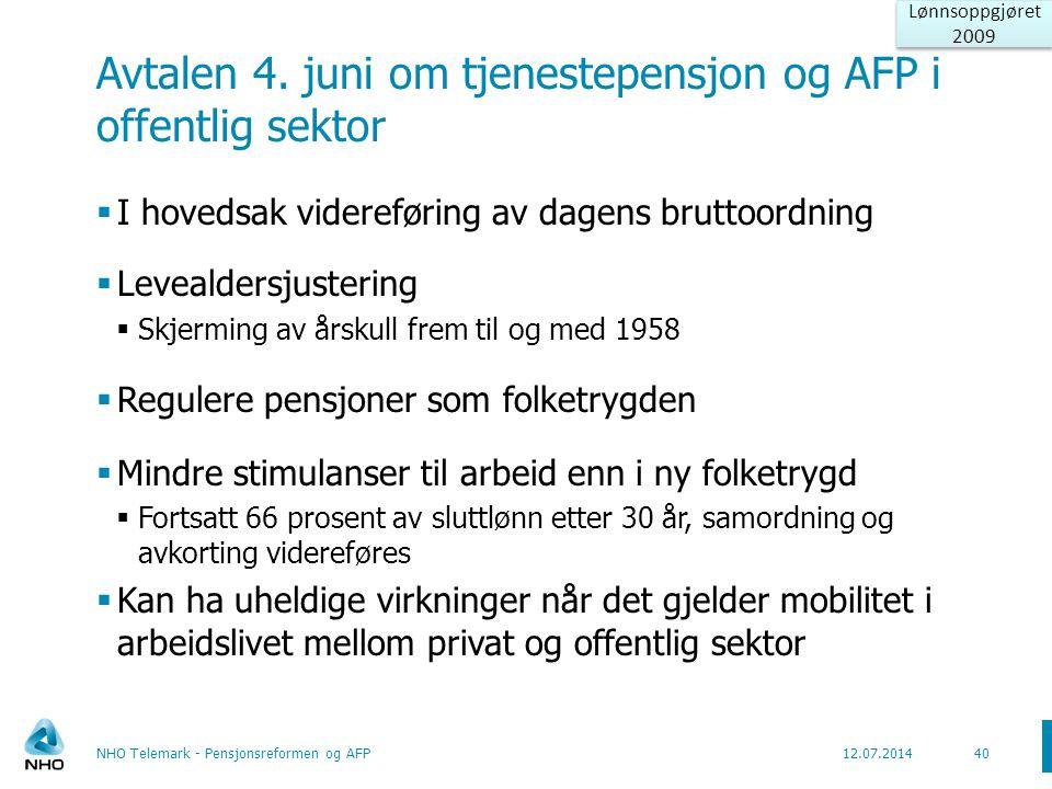 Avtalen 4. juni om tjenestepensjon og AFP i offentlig sektor