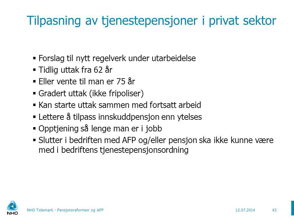Tilpasning av tjenestepensjoner i privat sektor