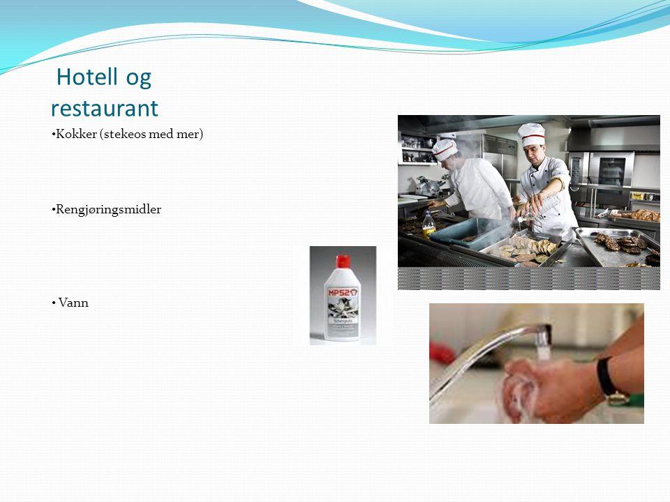 Hotell og restaurant Kokker (stekeos med mer) Rengjøringsmidler Vann