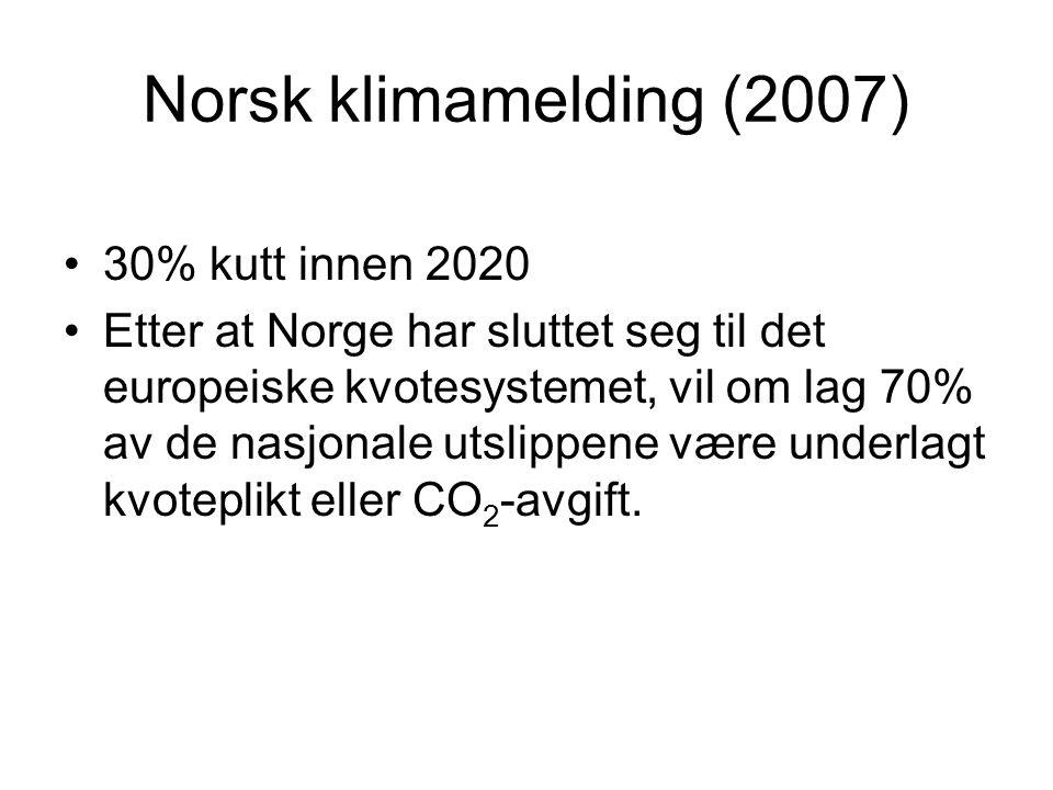 Norsk klimamelding (2007) 30% kutt innen 2020
