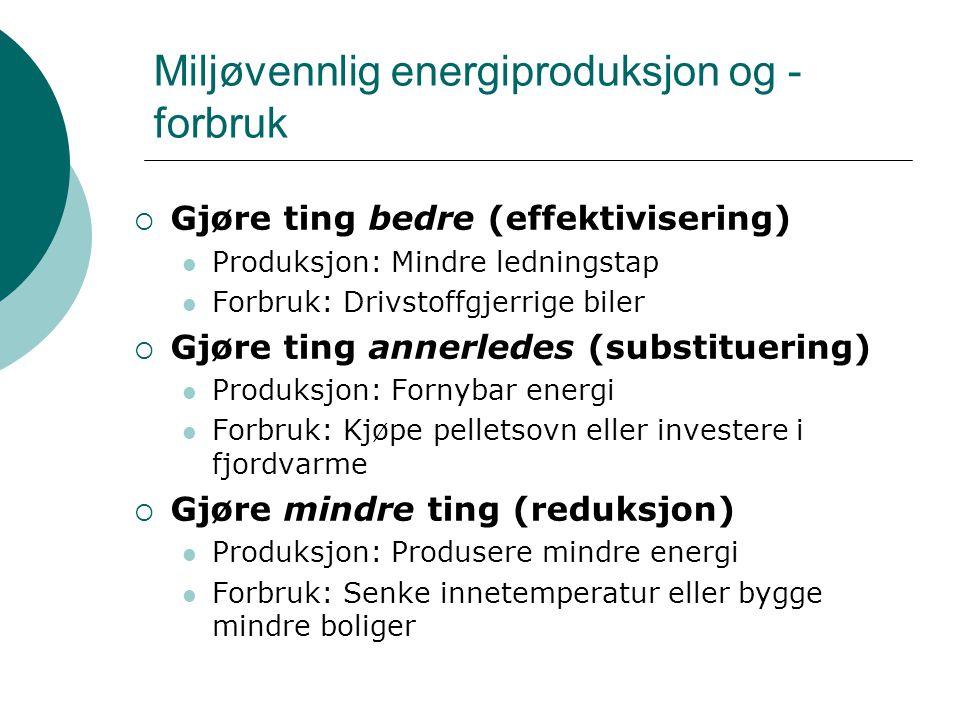 Miljøvennlig energiproduksjon og -forbruk