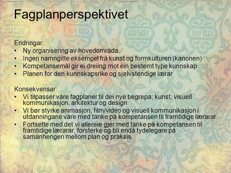 Fagplanperspektivet Endringar: Ny organisering av hovedområda.