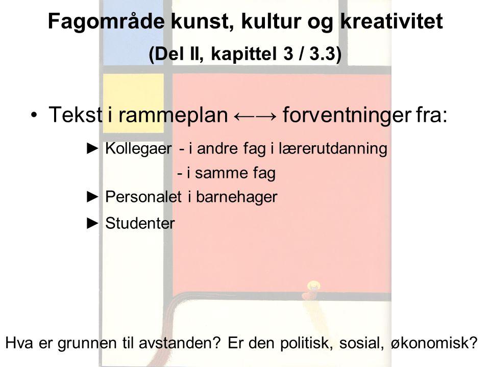 Fagområde kunst, kultur og kreativitet (Del II, kapittel 3 / 3.3)