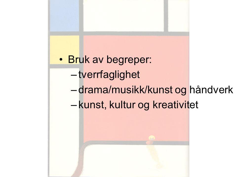 Bruk av begreper: tverrfaglighet drama/musikk/kunst og håndverk kunst, kultur og kreativitet