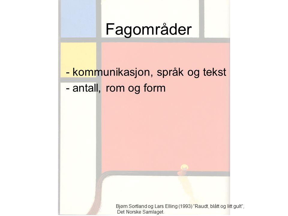 Fagområder - kommunikasjon, språk og tekst - antall, rom og form