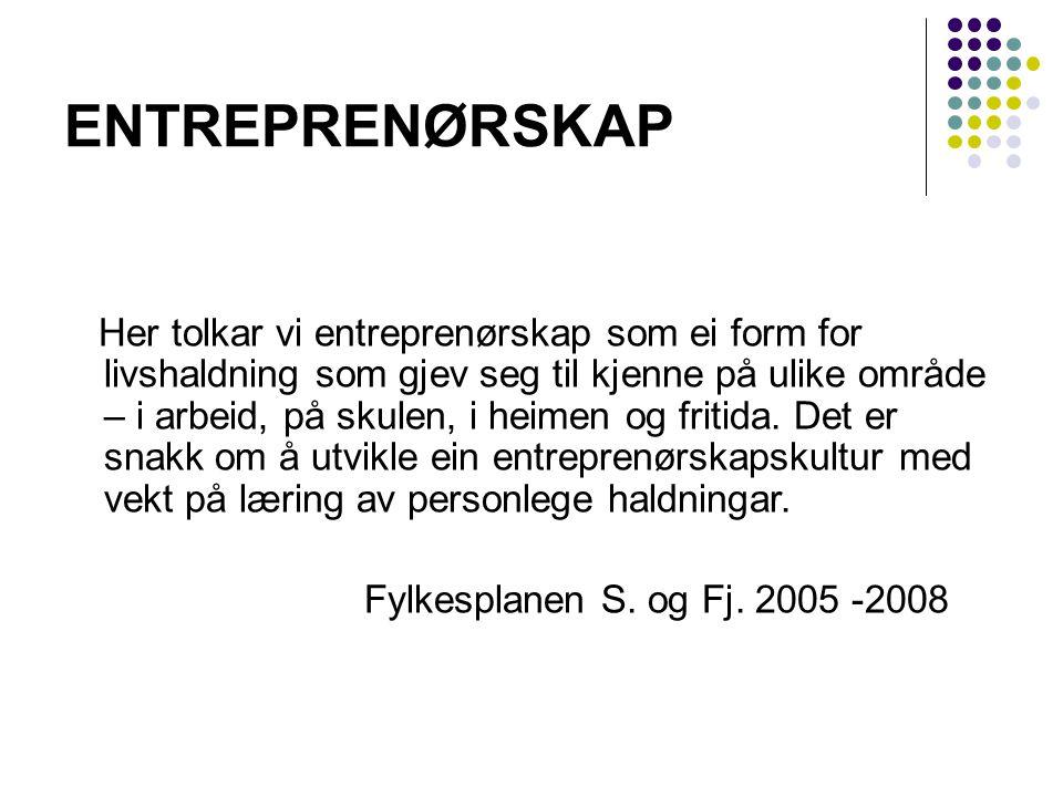 ENTREPRENØRSKAP Fylkesplanen S. og Fj. 2005 -2008