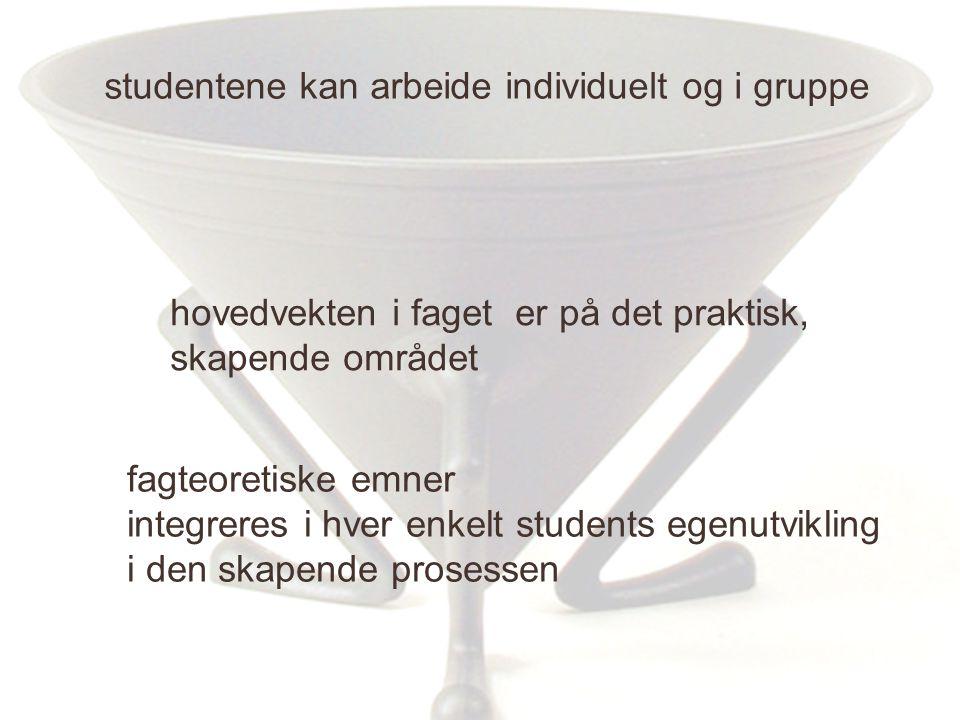 studentene kan arbeide individuelt og i gruppe