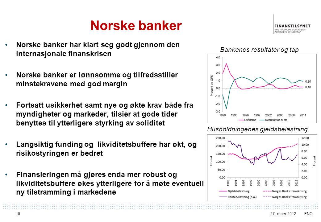 Norske banker Norske banker har klart seg godt gjennom den internasjonale finanskrisen.
