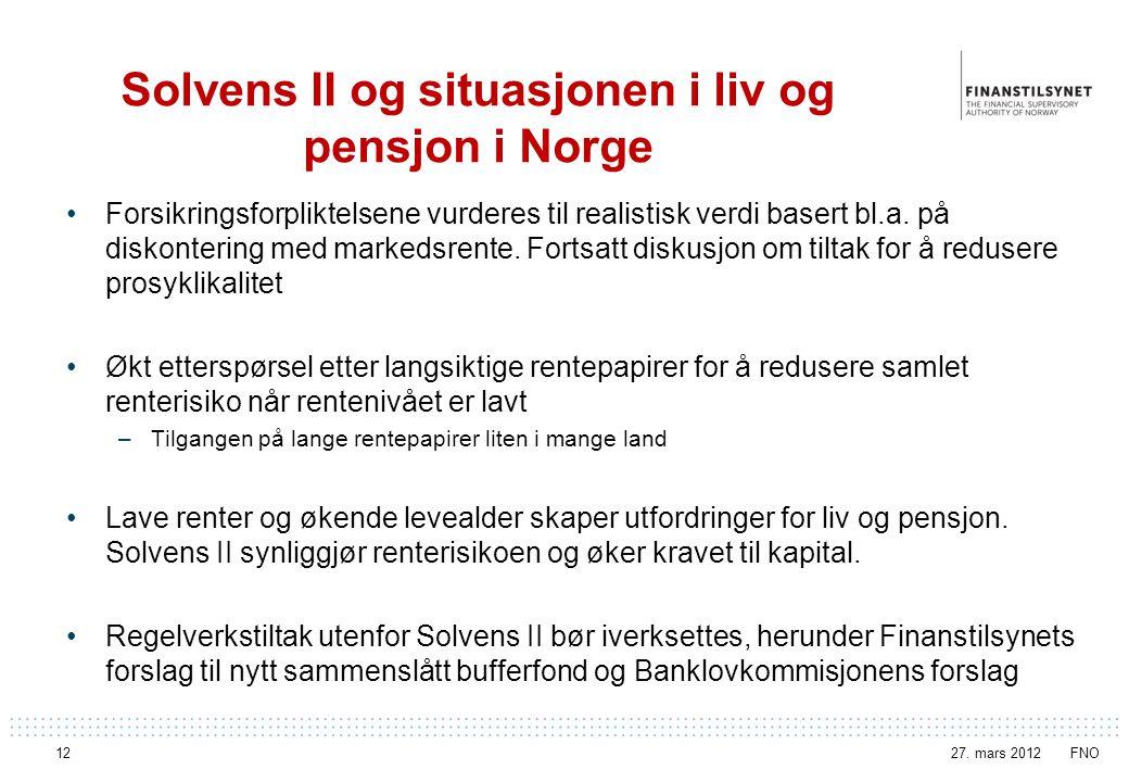 Solvens II og situasjonen i liv og pensjon i Norge