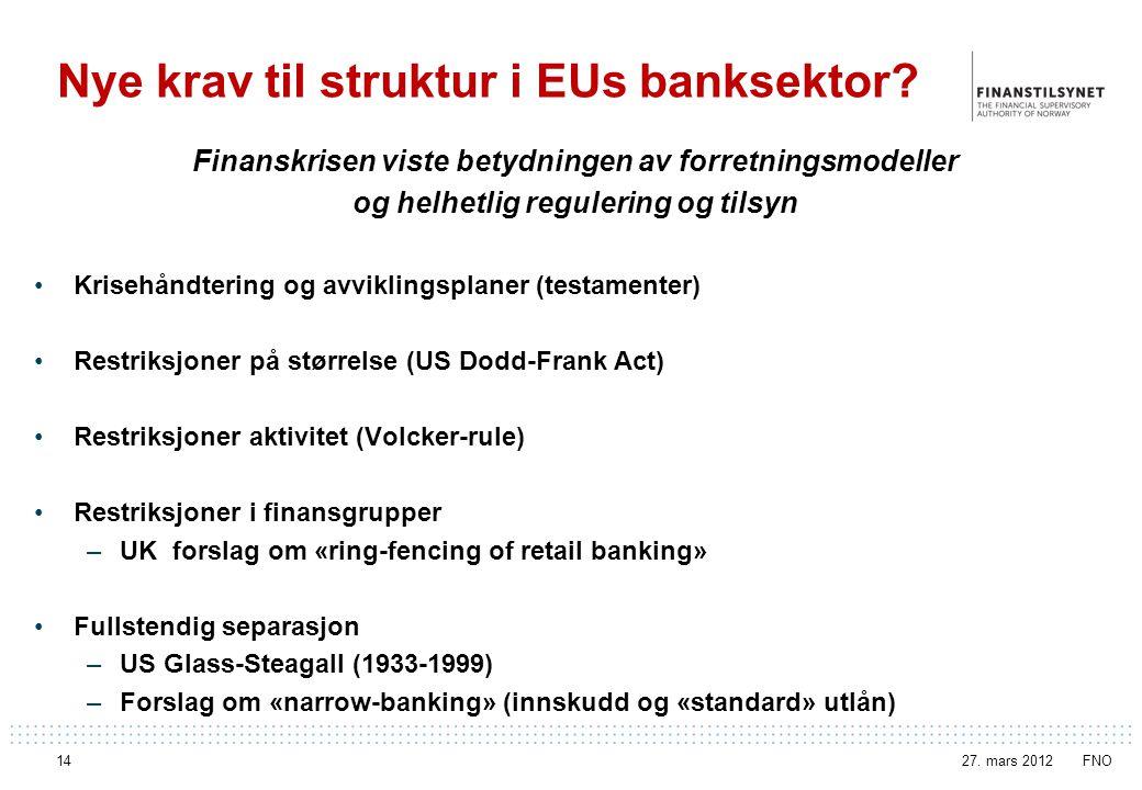 Nye krav til struktur i EUs banksektor