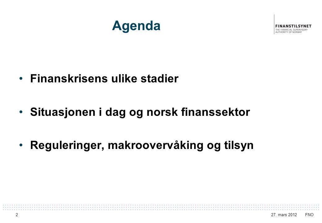 Agenda Finanskrisens ulike stadier