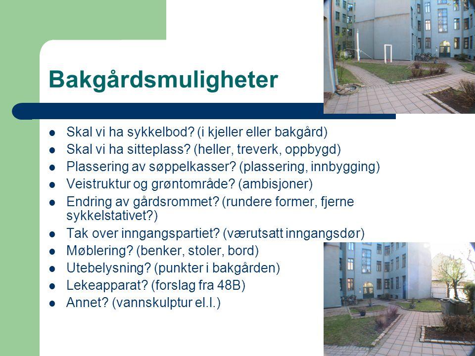 Bakgårdsmuligheter Skal vi ha sykkelbod (i kjeller eller bakgård)