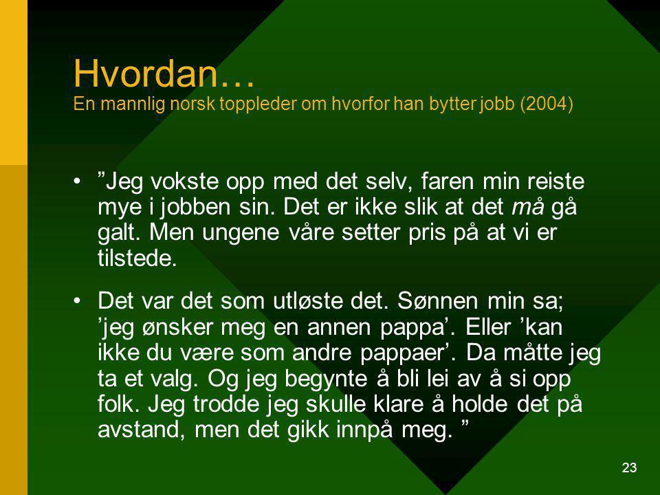 Hvordan… En mannlig norsk toppleder om hvorfor han bytter jobb (2004)