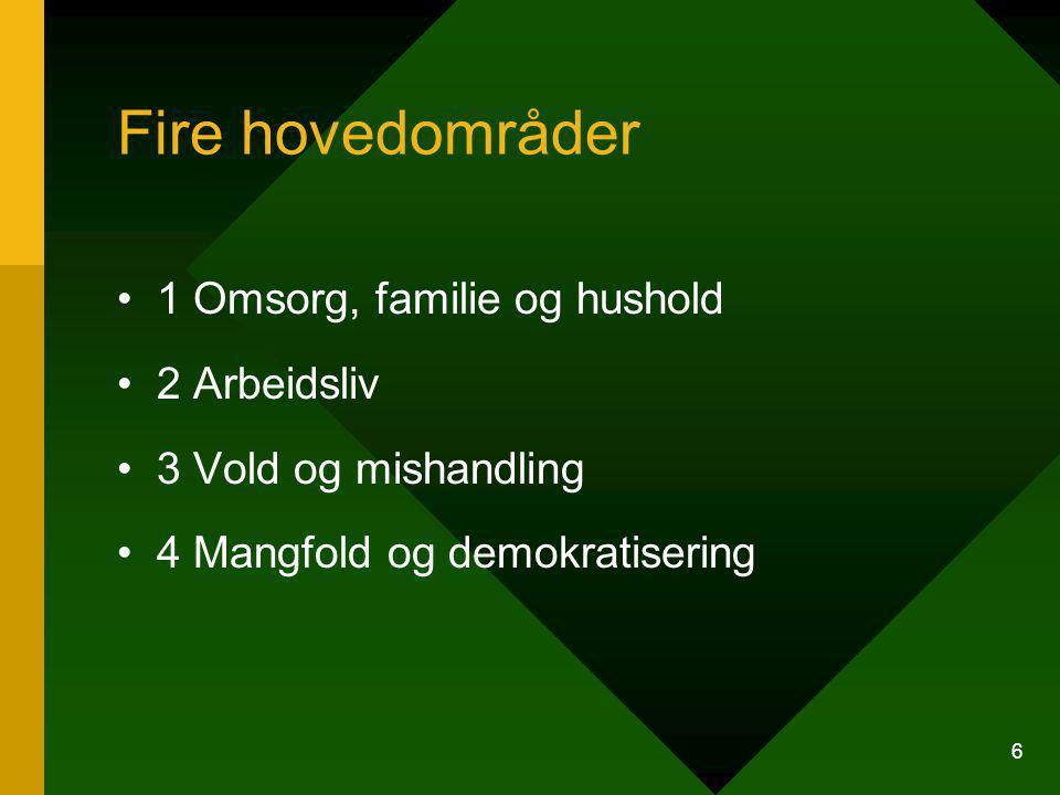 Fire hovedområder 1 Omsorg, familie og hushold 2 Arbeidsliv