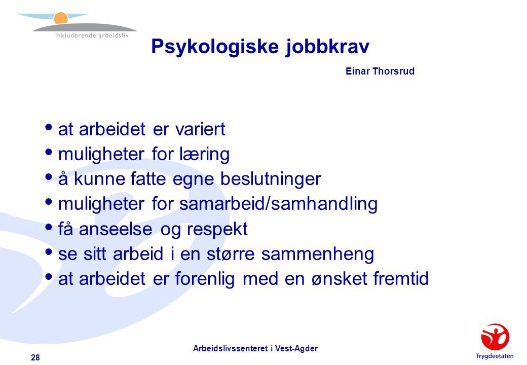 Psykologiske jobbkrav Einar Thorsrud