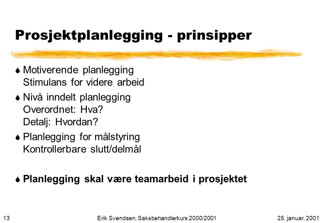 Prosjektplanlegging - prinsipper