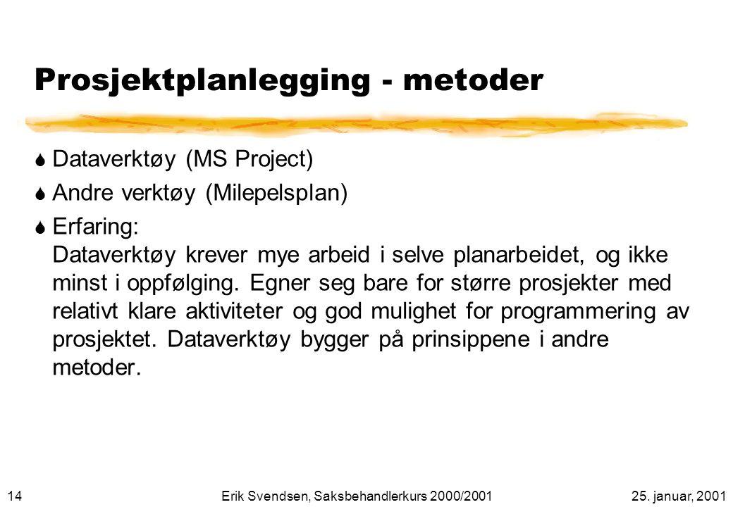 Prosjektplanlegging - metoder