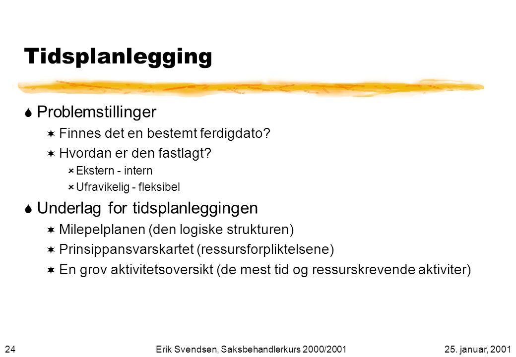 Tidsplanlegging Problemstillinger Underlag for tidsplanleggingen