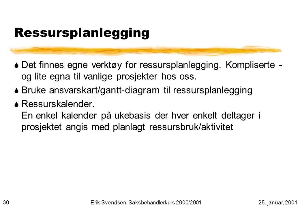 Ressursplanlegging Det finnes egne verktøy for ressursplanlegging. Kompliserte - og lite egna til vanlige prosjekter hos oss.