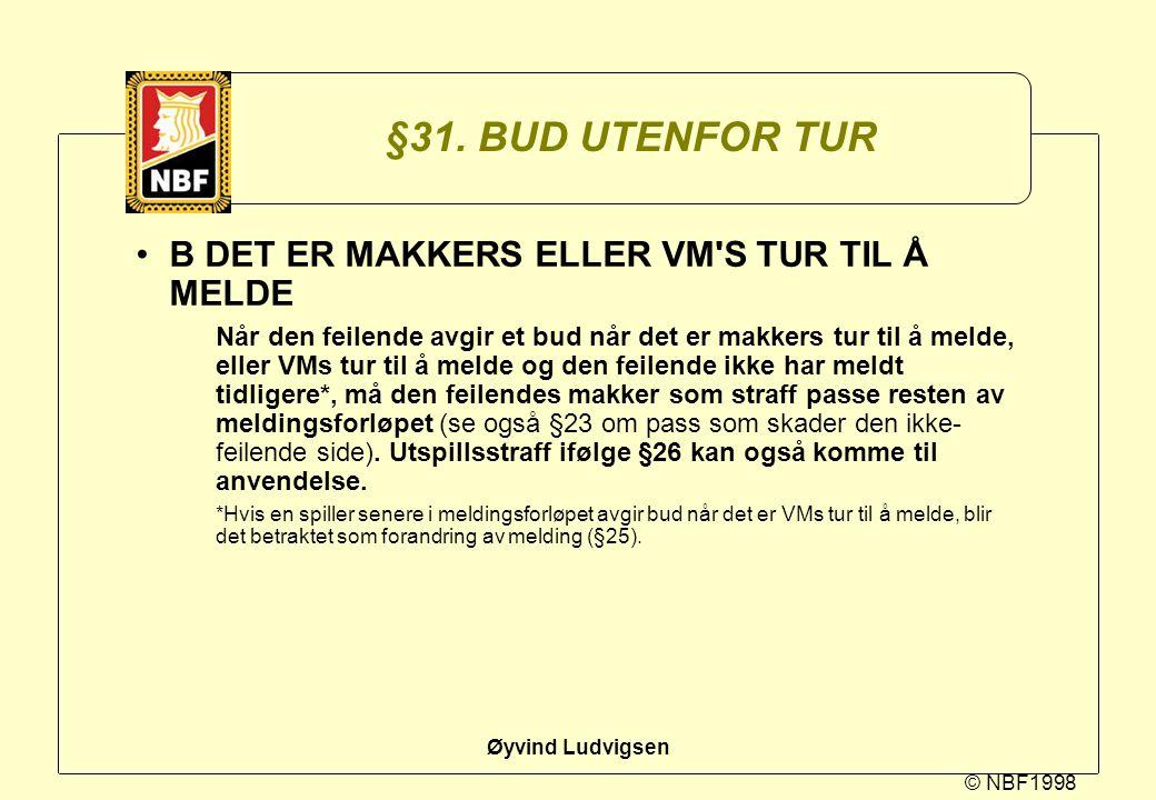 §31. BUD UTENFOR TUR B DET ER MAKKERS ELLER VM S TUR TIL Å MELDE