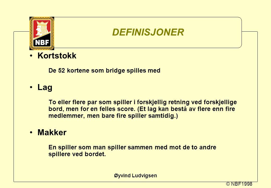 DEFINISJONER Kortstokk Lag Makker De 52 kortene som bridge spilles med