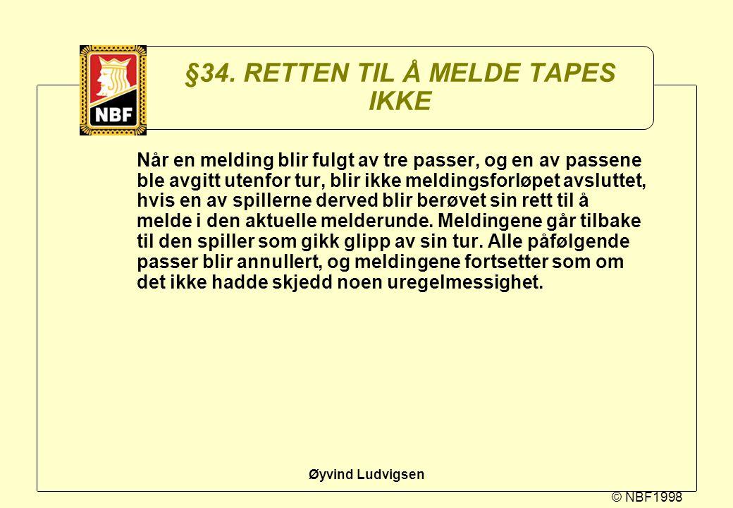 §34. RETTEN TIL Å MELDE TAPES IKKE