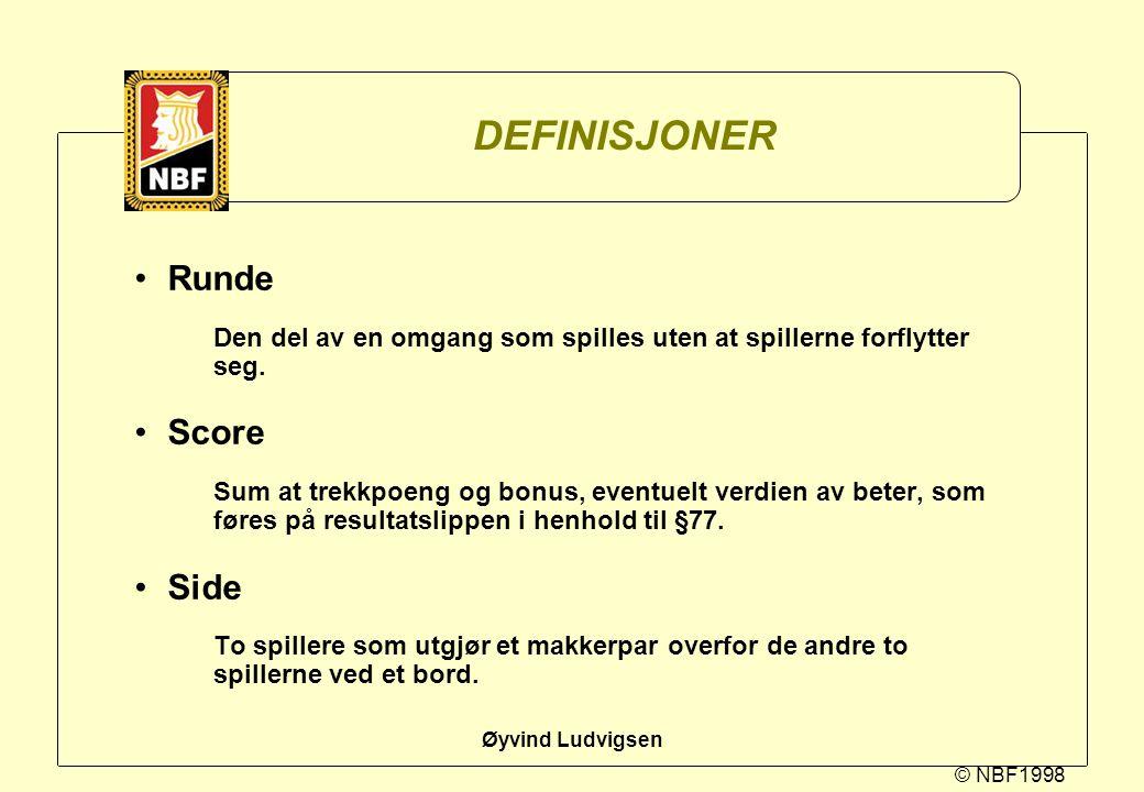 DEFINISJONER Runde Score Side