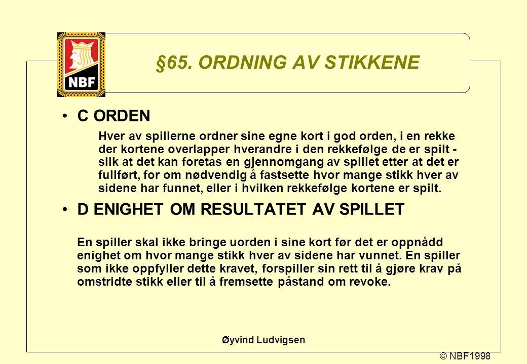 §65. ORDNING AV STIKKENE C ORDEN