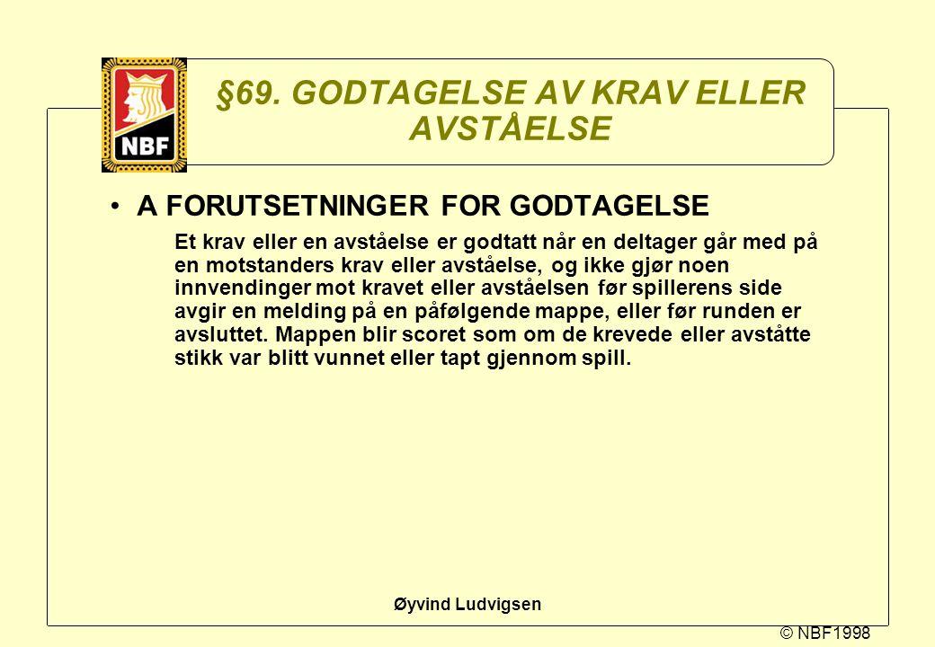 §69. GODTAGELSE AV KRAV ELLER AVSTÅELSE