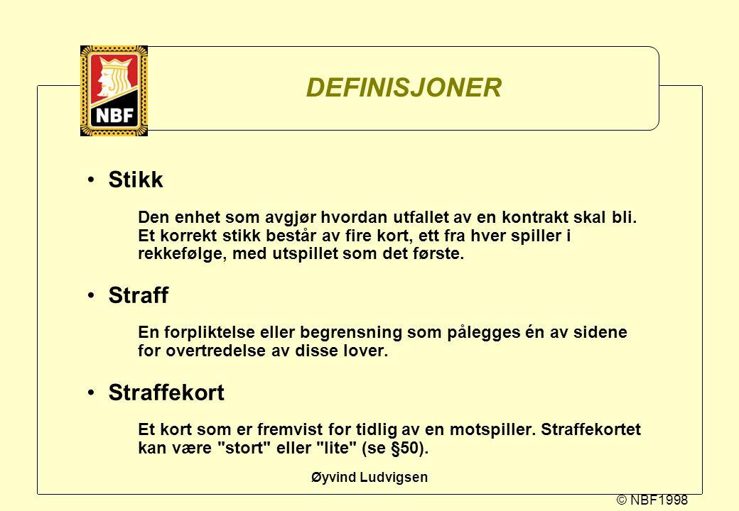 DEFINISJONER Stikk Straff Straffekort