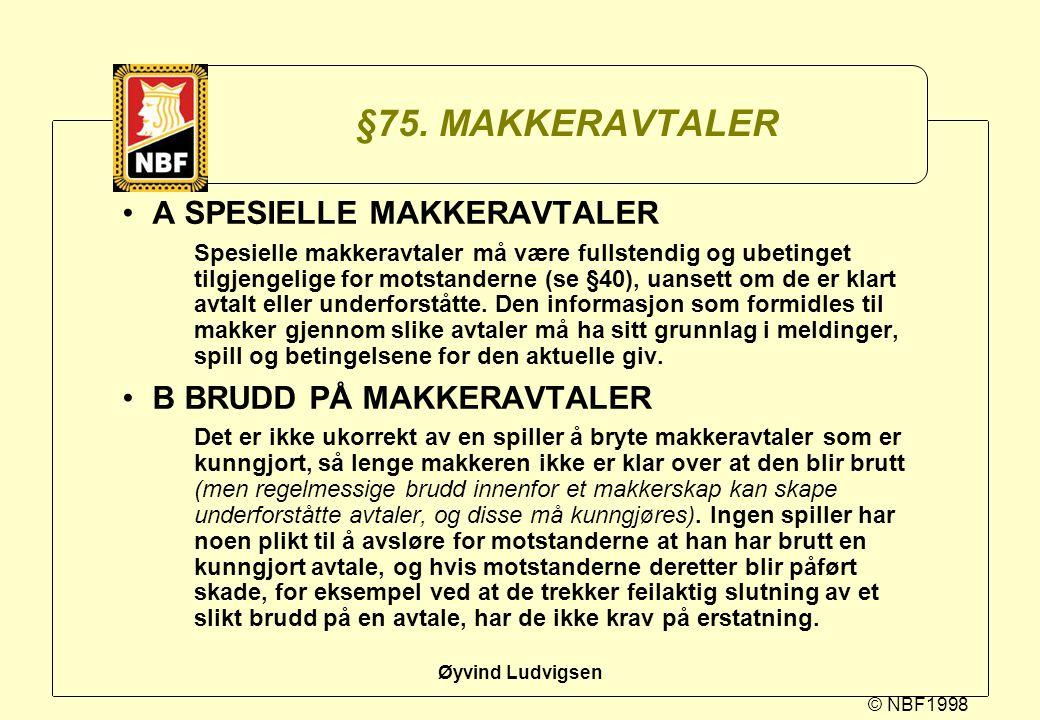 §75. MAKKERAVTALER A SPESIELLE MAKKERAVTALER B BRUDD PÅ MAKKERAVTALER