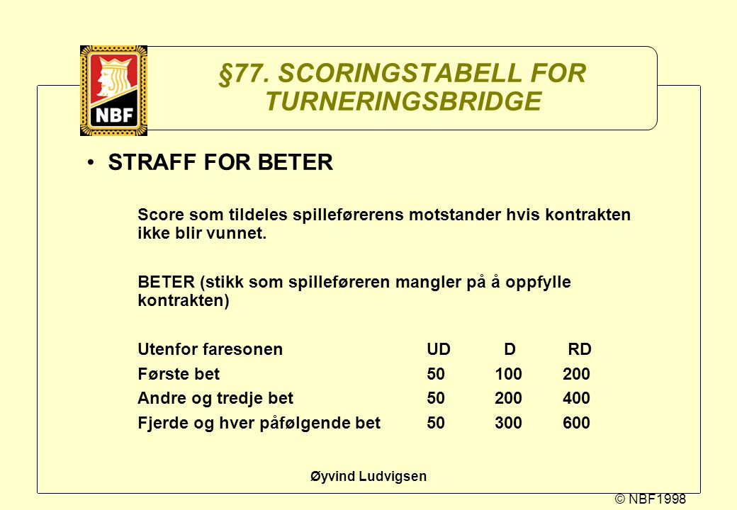 §77. SCORINGSTABELL FOR TURNERINGSBRIDGE