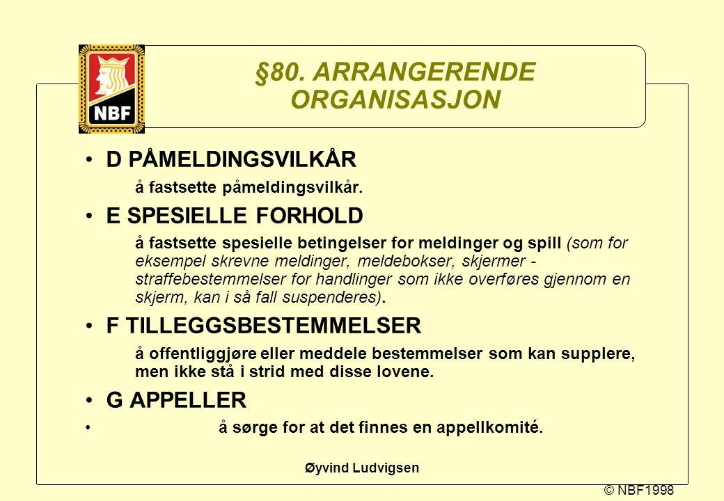 §80. ARRANGERENDE ORGANISASJON