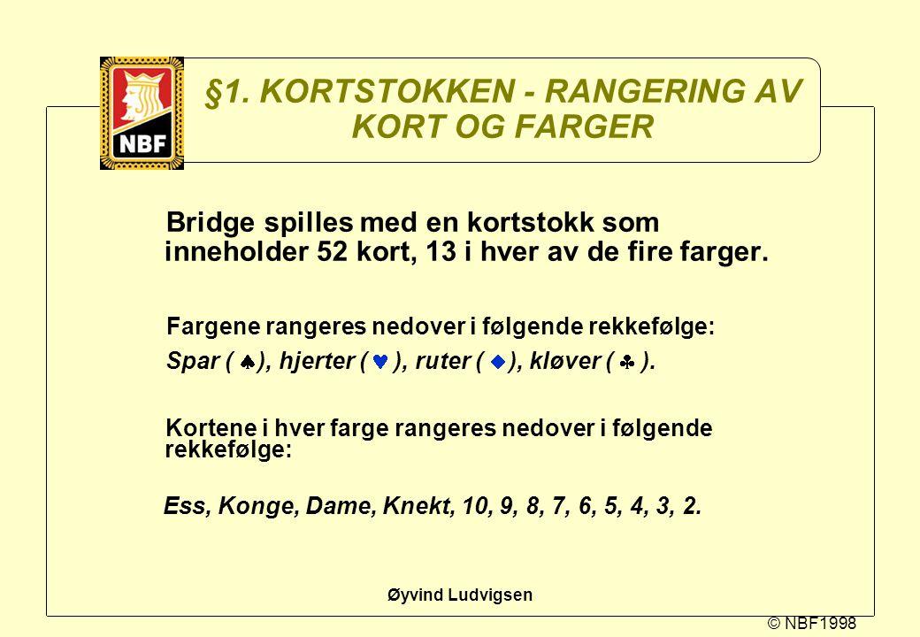 §1. KORTSTOKKEN - RANGERING AV KORT OG FARGER