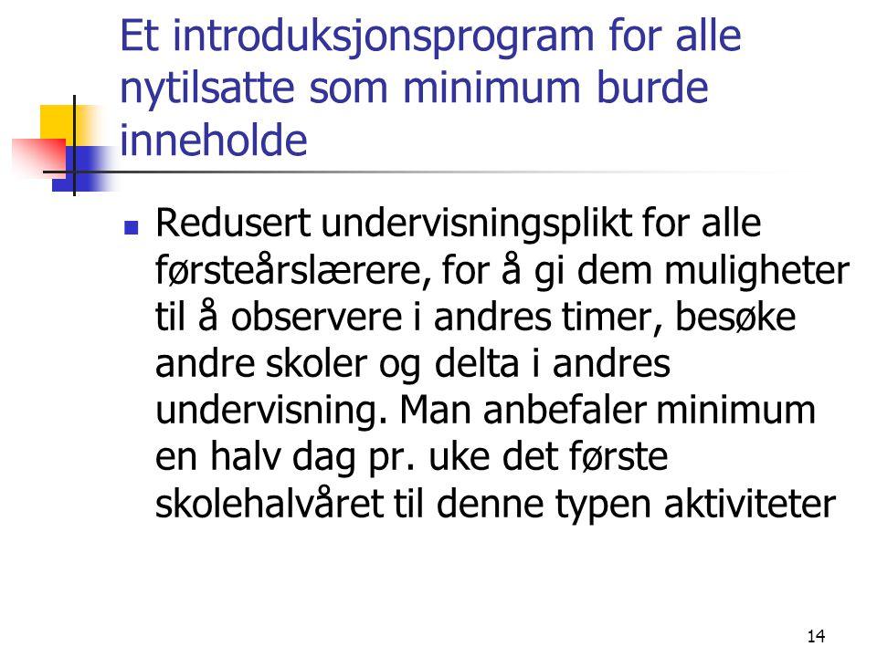 Et introduksjonsprogram for alle nytilsatte som minimum burde inneholde