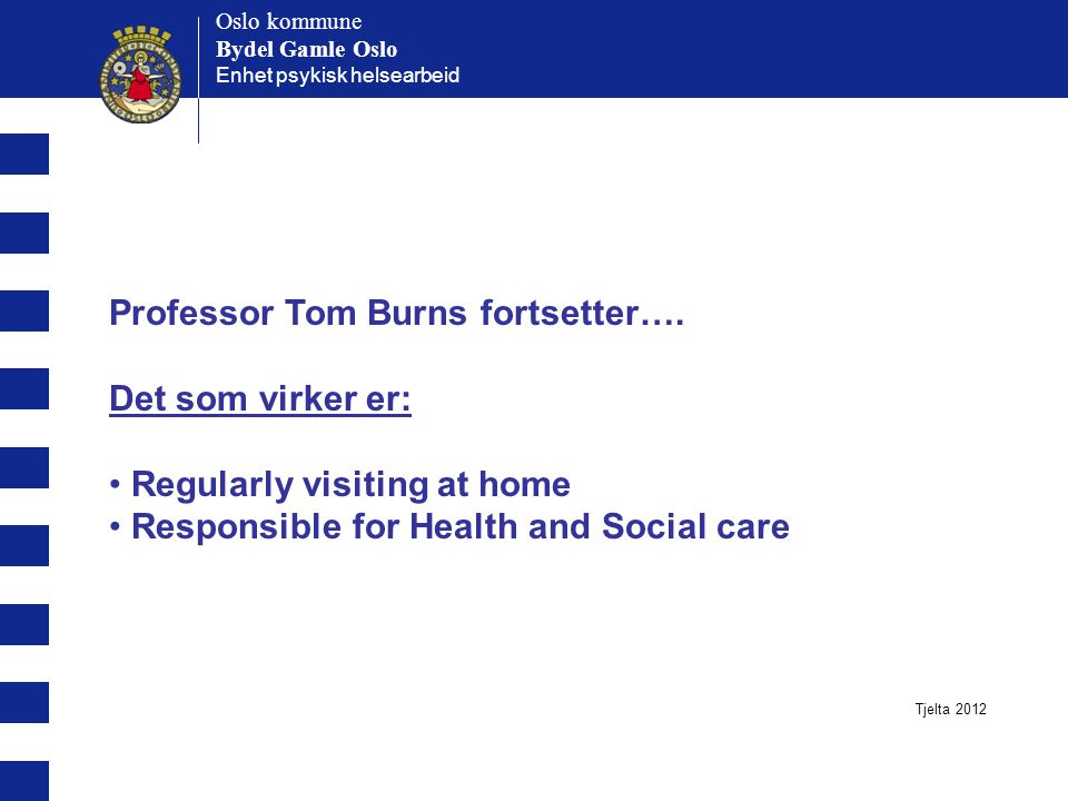 Professor Tom Burns fortsetter…. Det som virker er:
